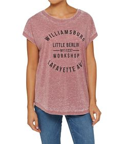 Let your style tell a story with the Burnout Minimalist Tee. This classic tee in mauve features crew neckline, curved hem and relaxed fit.