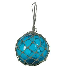 Blue Glass Buoy with rope for your nautical decor.