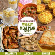 Slimming Slimming Eats Weekly Meal Plan - Week 21 - Slimming World recipes, taking the work out of planning, so that you can cook and enjoy the food. Slimming World Meal Planner, Slimming World Recipes Syn Free, Slimming World Diet, Slimming Eats, Sliming World, Cooking Recipes, Healthy Recipes, Budget Recipes, Healthy Meals