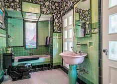Retro Home Decor .Retro Home Decor 1930s Bathroom, Art Deco Bathroom, Vintage Bathrooms, Dream Bathrooms, Beautiful Bathrooms, Bathroom Ideas, Small Bathrooms, Bathroom Colors, Interiores Art Deco