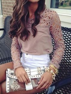 Bisque #Lace Panel #Blouse