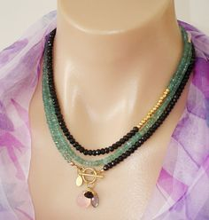 Ashira Black Spinel and Natural Aquamarine, Gold Pyrite Gemstone Necklace with Charms - One of a Kind