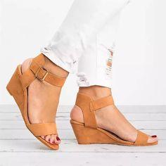 ccf24635 10.47 |YOUYEDIAN Sandalias de las mujeres 2018 cuñas zapatos casuales de verano  Zapatos hebilla Correa gladiador romano Sandalias de Mujer Sandalias Mujer  ...