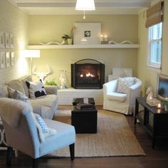 """Basement Family Room """"small Family Room"""" Design, Pictures, Remodel, Decor and Ideas  I really like the shelf. Could be really nice in the living room!"""