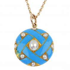 A Late 19th Century Gold Enamel And Split Pearl Pendant