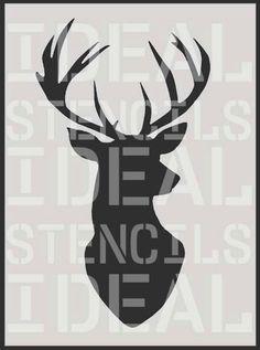 Stag Head Silhouette Stencil, deer head decor, painting stencil, wall décor stencil, large painting stencil