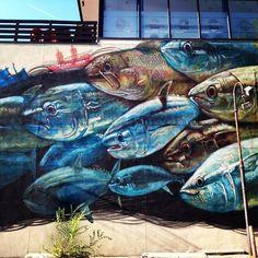 Fish mural. Barracks Row, Washington DC. National Mall, Washington Dc, Murals, The Row, The Neighbourhood, Graffiti, Street Art, To Go, Old Things