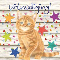 Uitnodigingskaart van Franciens katten.