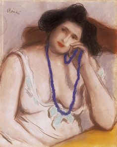 József Rippl-Rónai, Woman with Blue Pearl necklace