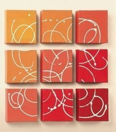 paint mini canvases, put together in square, use squeeze bottle to swirl white paint over all of them .