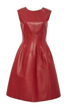 Seamed Leather Dress by OSCAR DE LA RENTA for Preorder on Moda Operandi