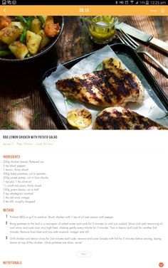 BBQ lemon chicken with potato salad Healthy Eating Recipes, Clean Eating Recipes, Healthy Cooking, Diet Recipes, Cooking Recipes, Healthy Meals, 28 By Sam Wood, 400 Calorie Meals, Eating Plans