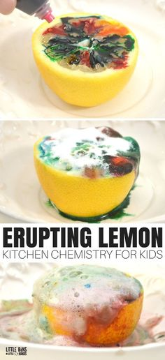 Great science is as simple as walking into the kitchen with this erupting lemon chemistry experiment! We enjoy all kinds of simple science and STEM using common household ingredients. This fun science activity can even be taken outside for easy clean up. Chemistry Experiments For Kids, Science Activities For Kids, Science Chemistry, Science Education, Simple Science Fair Projects, Simple Science Experiments Kids, Science Experiments For Toddlers, Kindergarten Science Experiments, Volcano Activities