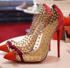 Louboutin red and gold wedding/bridal shoes.