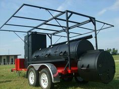 """Trailer Mounted 30"""" Triple Door w/Vertical Smoke Chamber & Canopy. Delivered to Memphis! Memphis knows #BBQ! #HorizonSmokers  580-336-2400 Custom Bbq Grills, Custom Bbq Smokers, Custom Bbq Pits, Bbq Smoker Trailer, Bbq Pit Smoker, Barbecue Smoker, Trailer Smokers, Carne Asada, Offset Smoker"""