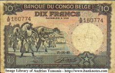 1949 Belgian Congo 10 Francs Banknote