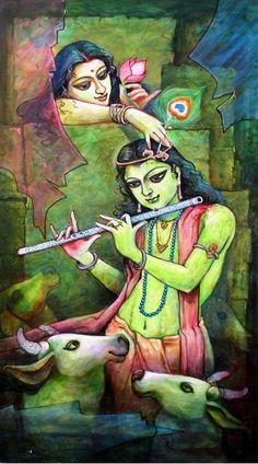 Krishna playing Flute - Portrait/Figures Acrylic Painting   World Art Community Lord Krishna Images, Radha Krishna Images, Radha Krishna Love, Shree Krishna, Radhe Krishna, Paintings Online India, Indian Art Paintings, Online Painting, Radha Krishna Wallpaper