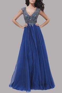 luxury beaded sleeveless v neck royal blue keyhole long ball dress