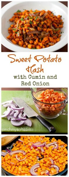 This simple and delicious Sweet Potato Hash recipe is healthy, perfect for paleo diet and Whole 30 challenge and is even vegetarian! It can be eaten for breakfast with fried eggs and bacon or even as a delicious fall dinner side dish. | pinchmysalt.com