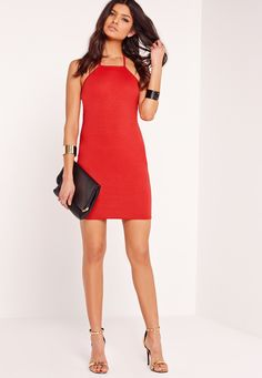 Missguided - T-Bar Back Ponte Bodycon Dress Red