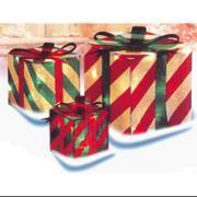 3-Piece Glistening Striped Gift Box Lighted Christmas Yard Art Decoration Set