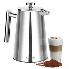 Blmwares 50 Ounce 1500ml French Press Coffee Maker  Stainless Steel 1810 SFP 50DSC  Stainless Steel Screen Included ** Learn more by visiting the image link.Note:It is affiliate link to Amazon.