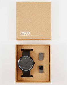 Image 1 ofASOS Watch And Cufflink Set In Black