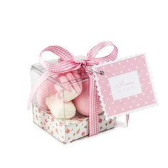 Cajita con nubes de azúcar de un delicado color rosa y blanco, dulces como tu bebé.