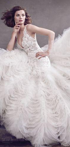 lazaro fall 2016 (3650) sleeveless straps lace bodice deep v neck ruffle skirt fit flare wedding dress mv