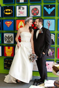 Comic book inspired styled wedding shoot from Amanda Mae Photography Star Trek Wedding, Geek Wedding, Wedding Pics, Wedding Shoot, Wedding Dresses, Wedding Ideas, Marvel Wedding, Comic Book Wedding, Dc Weddings