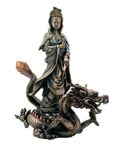 Kuan Yin Sculpture w/ Dragon