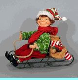 Karen Didion Elf on Sled Green sweater
