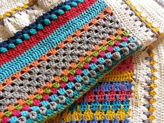 Pippy Stripe Blanket -- I love this, its like a compilation of many stitch types. Like a sampler!