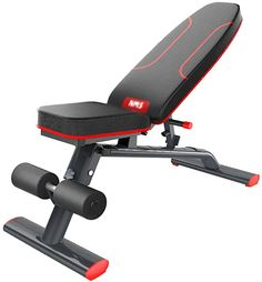 Adjustable Weight Bench - Sit Up AB Bench Commercial Dumbbell Bench Gym Quality Home Training Gym Weight Lifting Black and Red Bed Workout, Gym Workouts, At Home Workouts, Home Gym Basement, Adjustable Weight Bench, Best Weight Loss Exercises, Gym Weights, Weight Benches, No Equipment Workout
