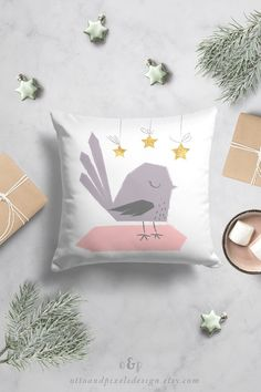 NEW super-cute bird pillow case by Otto and Pixels! This cutie will enhance your baby room decor and bring that splash of cutness we all love! The kids pillow cover is perfect Christmas decor, but will also look stunning after the Holidays passes. The decorative pillow is available in my Etsy shop! Click to shop!
