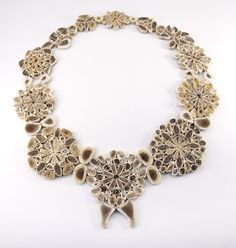 Evelien Sipkes: Ceramics Fine Art Contemporary Jewelry. Bone Lace, bones, linen 2013