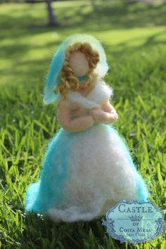 Blue Rose Upside Down Surprise Flower Fairy. Needle-felted Waldorf Spring Season Table Fairy Doll by Castle of Costa Mesa
