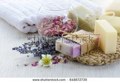 Handmade Soap with bath and spa accessories. Dried lavender and rose petals Crafts For Teens, Crafts To Sell, Leg Cramps Causes, Carrot Soap, Hydrogen Peroxide Uses, Spa Accessories, Herbs Indoors, Gifts For Your Boyfriend, How To Make Homemade