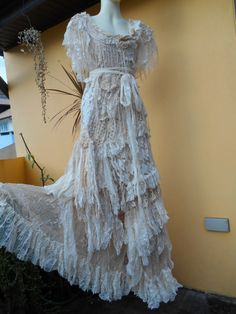vintage inspired shabby bohemian gypsy dress ...small by wildskin, $325.00