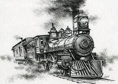 antique train line drawings - Google Search