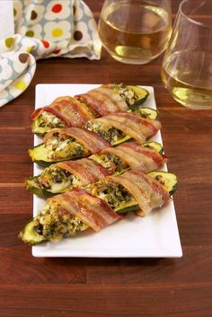 Bacon Wrapped Stuffed Zucchini Vertical