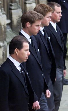 Viscount Linley, Prince William, Prince Harry and Peter Phillips attend  the Queen Mother's funeral in 2002