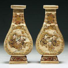 "Pair of Japanese Antique Gilt Satsuma Porcelain Vases: of 19th Century  Dimensions: H: 5-1/2""(each)"