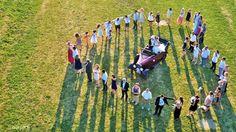 Logo humain par drone, photo vidéo de mariage, Hautes-Alpes, France. (WEDDING in France)!