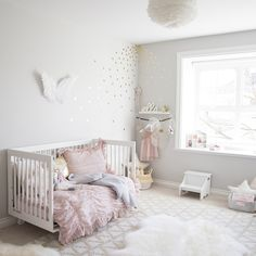 pink and gold toddler girl room