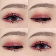 Korean makeup, pretty, cute, pink, perfect eyebrows