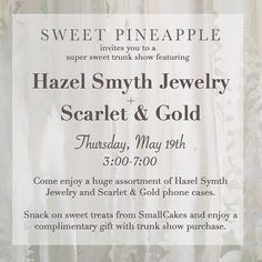 TODAY is the day!! Come by and see all the super fun goodies from @hazel_smyth_jewelry and @scarletandgoldshop  (and be sure to check your inbox for a surprise if you subscribe to our newsletter ) by shopsweetpineapple