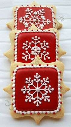 Royal Icing Decorating Christmas Cookies with Red Background and White | http://decoratedcookies398.kira.lemoncoin.org