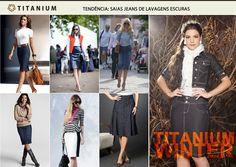 Bom dia! Chegou a hora de conferir mais uma das tendências que estão fazendo o maior sucesso por aí: as saias jeans de lavagens escuras!    No inverno 2013, a Titanium Jeans traz para as mulheres evangélicas modelos esclusivos e com uma modelagem que adapta perfeitamente ao formato do seu corpo. Confira!