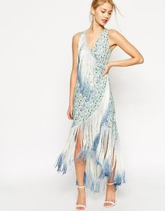 Image 1 of ASOS Fringe Midi Print Dress